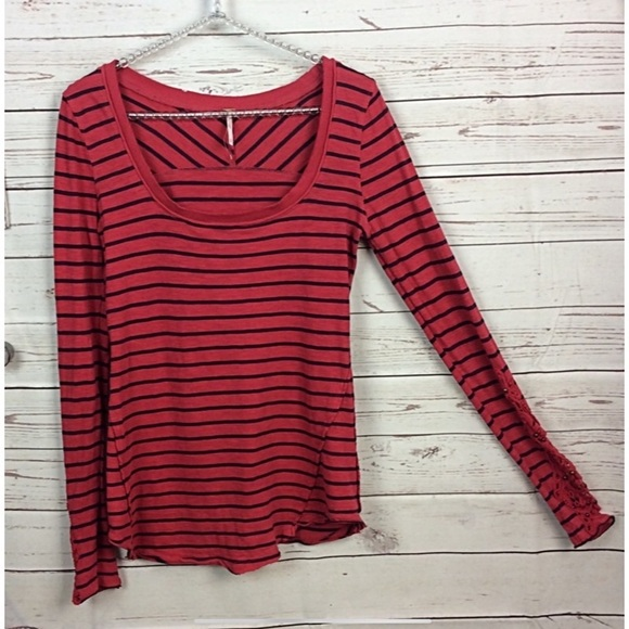 Free People Tops - Free people red/black w/Embroidered sleeve…